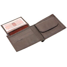 Mens Bifold Wallet Large Flap Up Button Snap Change Pocket Genuine Leather New