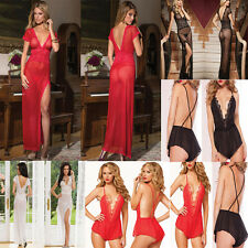 Hot Sexy Lace Lingerie Long Dress Babydoll Sleepwear G-string Nightwear Chemise