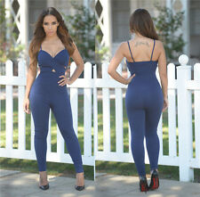 Sexy Women Backless Jumpsuits Bodycon Rompers Shoulder straps Skinny