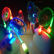 Flowing Visible LED Light UP Micro USB Data Sync Charger Cable For Android Phone