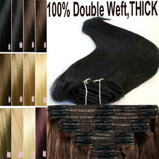 130g-220g Thick Remy Human Hair Extension DIY Clip In Full Head Double Weft L486