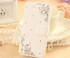 New silk leatther wallet flip case cover w 3D bling flower for iphone galaxy