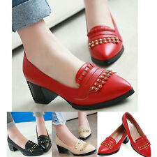 Ladies Pointed toe Slip-On Shoes Low Heels Mary Janes Rivet Shallow Sandals