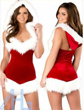 Sexy Women Christmas Santa Costume Dress with Hood Outfit Xmas Party Fancy Dress