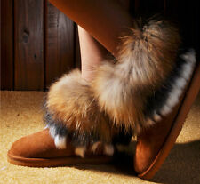 Winter Womens Calf Leather Snow Boots Real Rabbit Fox Fur Lining Ankle Boots N10