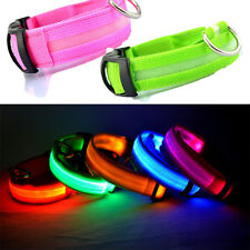 Pet Dog Cat LED Lights Flash Safety Waterproof Nylon Collar Small Puppy Animal