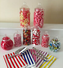 Plastic Victorian Sweet Jars Bags Tongs & Scoop Candy Buffet/Sweet Table Wedding