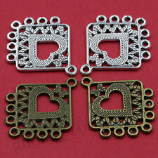 8/40pcs Tibetan Silver Hollow Heart Square Charm Connector Jewelry DIY 25X31MM