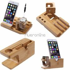 Charging and Docking Station Bamboo Stand Holder For Apple Watch iWatch iPhone 7