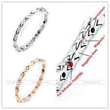 Women's 4 in 1 Stainless Steel Magnetic Bracelet Germanium Therapy Power Energy