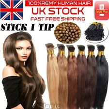 "Remy 20"" Pre bonded I Tip Glue Stick Human Hair Extensions 200Strands 1g/s U932"
