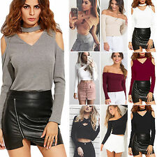 Sexy Womens Ladies Off The Shoulder Knit Tops Long Sleeve T-Shirt Casual Blouse