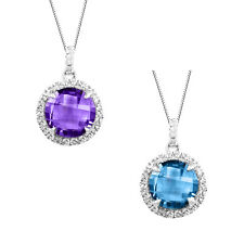 Sterling Silver Checkerboard Amethyst or Blue Topaz Halo Pendant Necklace