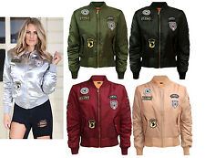 Womens Ladies Celeb Inspired Classic Army Style Patch Bomber Jacket Biker Jacket