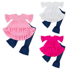 Kids Baby Girl Ruffle Tops Dress Jeans Pants Leggings 2PCS Outfits Clothes 6M-6T