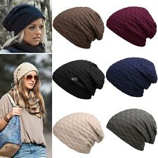 Fashion Unisex Men Women Solid Braid Pattern Knitted Beanie Stretchy Hat Winter