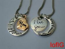 Fashion I love you to the moon and back necklace,two pieces pendant moon &mom ne