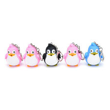Cute Animal Penguin LED Light With Sound Key Chain Keyring Ring Torch Gift FXT