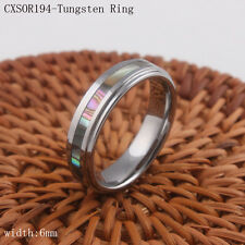 6mm Tungsten Ring High Quality Women Abalone Shell Inlay Band Round Carbide