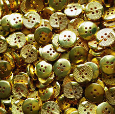 12mm Gold Plastic Button 4 Holes Round DIY Scrapbooking Sewing Craft 50/100pcs