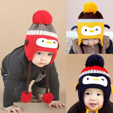 Baby Toddler Winter Warm Cute Penguin Crochet Knitted Earflap Cap Kids Hat