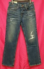 NWT HOLLISTER Abercrombie Mens Medium Wash Destroyed Boot Button Fly Jeans NEW