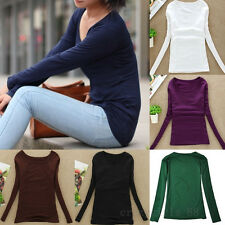 Womans Casual Long Sleeve Stretch Plain Scoopneck Round Collar Top BlouseT-Shirt