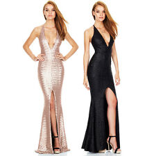 Sexy V Women Bodycon Sequin Formal Prom Party Cocktail Evening Long Dress Gown