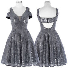 Sequined Short Party Formal Prom Evening Dress Ball Gown Wedding Cocktail 4-16