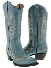 Cowboy Professional Women's Turquoise Silver Studded Leather Cowboy Boots Snip
