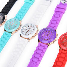 Unisex Silicone Rubber Jelly Gel Quartz Analog Sports Women Wrist Watch  ROJ