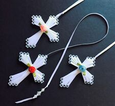 RIBBON & ROSE BEADED CROSS WEDDING FAVOR GIFT ~ 8 COLORS AVAILABLE~FREE SHIPPING