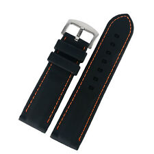 New 20/22/24/26mm Black Silicone Watch Strap Band Blue/Yellow/Orange Stitch Mens