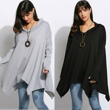 Women Cowl Collar Long Sleeve Irregular Hem Pullover Oversized Loose Blouse