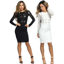 Fashion Womens Long Sleeve Bandage Bodycon Mesh Club Cocktail Party Mini Dress