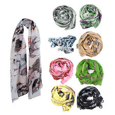 Womens Begonia Flower ink Style Chiffon Neck Scarf Shawl gift ladies girls SP