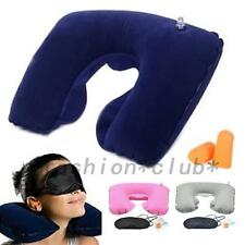 Hot 3in1 Travel Suit Sleeping Inflatable Neck Air Pillow Eye Mask Ear Plug Set