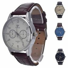 New Fashion Casual Sport Analog Quartz watch PU Leather Men's Wrist Watch