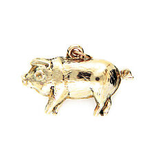 Vintage Hallmarked 9ct Yellow Gold 3D Puffy Pig Charm Pendant