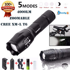 4000LM CREE XML T6 LED Zoomable Military waterproof 18650 Flashlight Torch Set