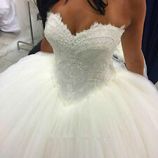 New White/Ivory Ball Gown Tulle Wedding Bridal Dresses Stock Size6+8+10+12+14+16
