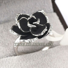 Fashion Flower Ring Black Glaze 18KGP CZ Rhinestone Crystal Size 6,8