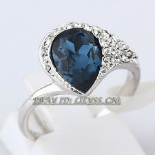 B1-R626 Fashion Simulated Sapphire Ring 18KGP CZ Rhinestone Crystal Size 6, 6.5