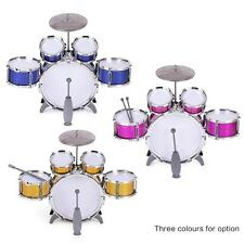 Children Kids Drum Set Toy 5 Drums with Cymbal Stool Sticks W3K6[Red]