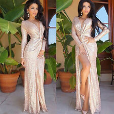 Sexy Women Sequins V Neck Maxi Long Dress High Split Party Evening Cocktail Gown