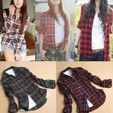 Women Plaids Long Sleeve Shirts Lapel Down Casual Slim Blouse Tops S-XXL