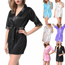 Sexy/Sissy Lingerie Womens Satin Slips Lace Chemise Sleepwear Silk Robes Pajamas