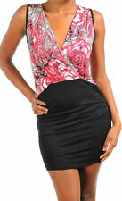 Dress S M L Floral Sublimation Pink Red Sleeveless Crossover Tank Ruched Sexy