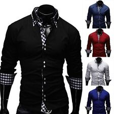 Stylish Men's Slim Fit Long Sleeve Formal Dress shirt Casual Shirts Tops Luxury