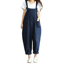 Womens Casual Strap Dungaree Jumpsuits Overalls Long Trousers Harem PantsBE